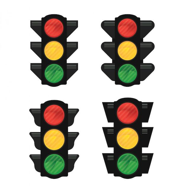 Vetor de semáforos isolado Vetor Premium