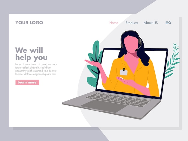 Vetor de serviço ao cliente de mulheres ilustração para página de destino Vetor Premium