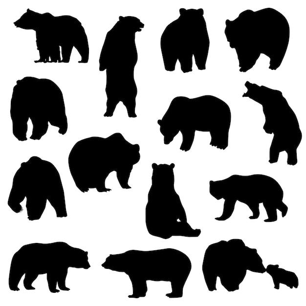 Vetor de silhueta animal montanha urso Vetor Premium
