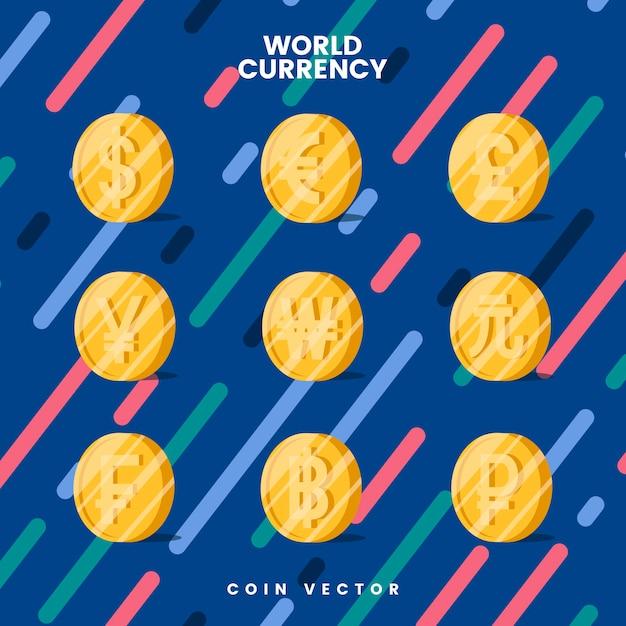 Vetor de símbolo de moeda de moeda mundial Vetor grátis