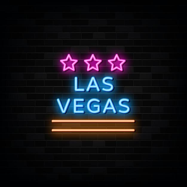 Vetor de sinais de néon de las vegas. modelo de design estilo neon Vetor Premium