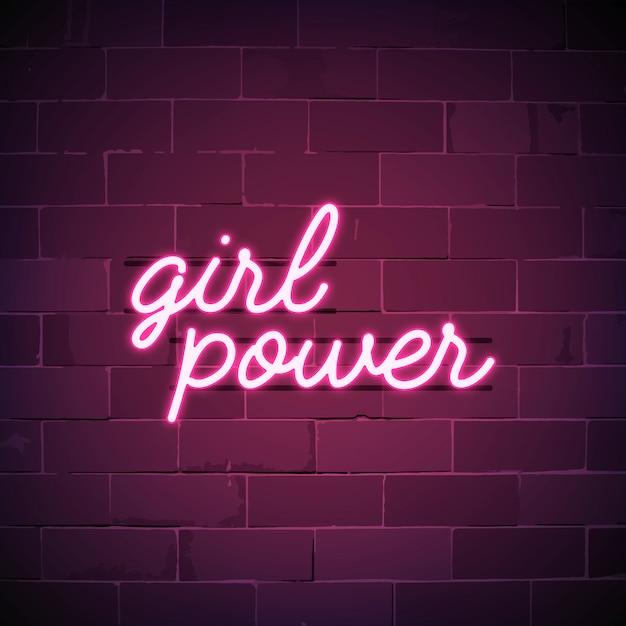Vetor de sinal de néon do poder da menina Vetor grátis