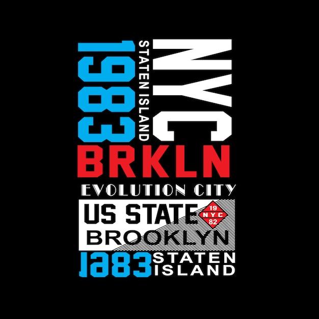 Vetor de t-shirt de tipografia de lugar famoso de new york brooklyn Vetor Premium