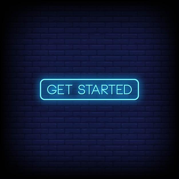 Vetor de texto de estilo de sinais de néon de introdução Vetor Premium