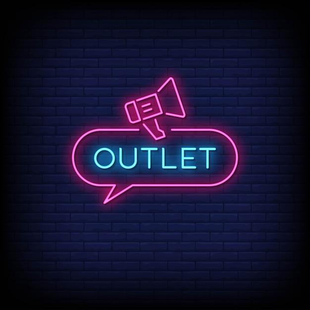 Vetor de texto de estilo de sinais de néon de saída Vetor Premium
