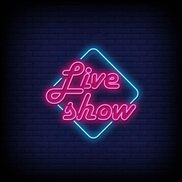 Vetor de texto de estilo de sinais de néon show ao vivo Vetor Premium