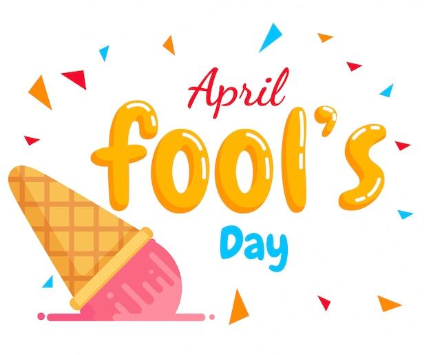 Vetor de texto do dia de tolo de abril e sorvete de outono Vetor Premium