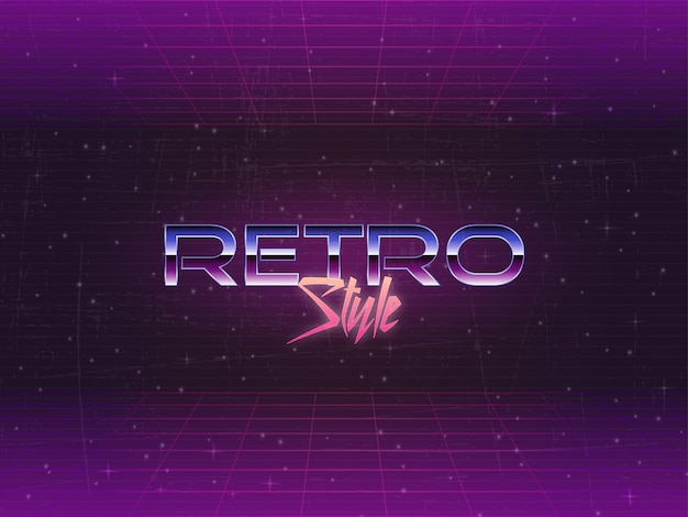 Vetor de texto editável de fundo retrô dos anos 80 Vetor Premium