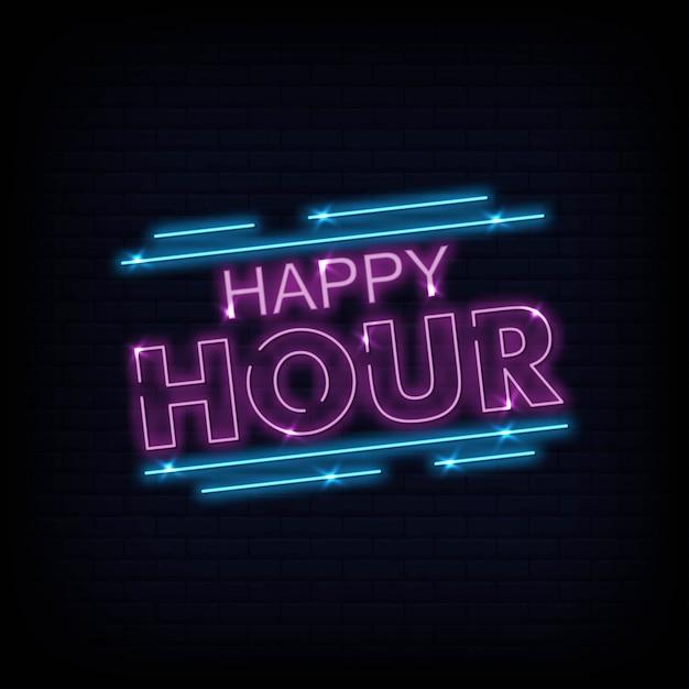 Vetor de texto néon de happy hour Vetor Premium