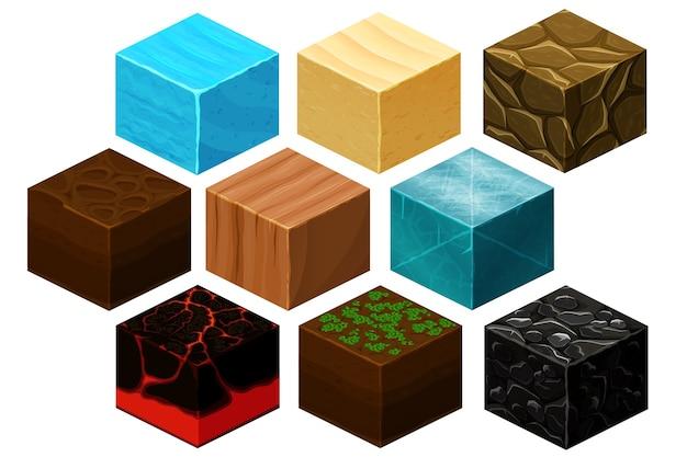 Vetor de texturas de cubo 3d isométrico definido para jogos de computador. cubo para jogo, textura de elemento, tijolo natural para ilustração de jogo de computador Vetor grátis