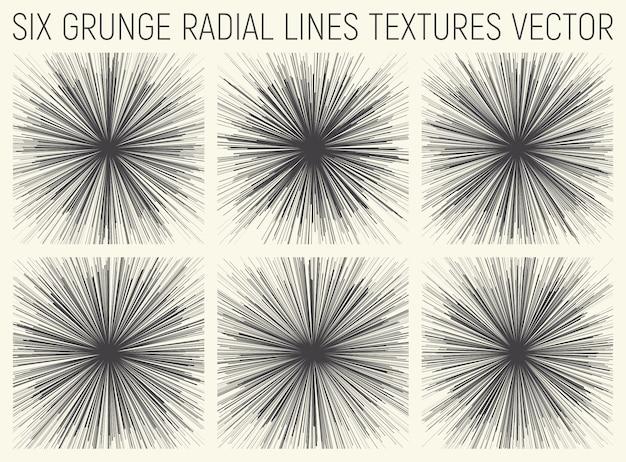 Vetor de texturas de linhas radiais de grunge Vetor Premium