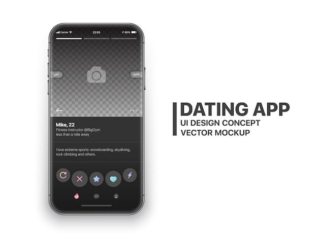 Vetor de tinder mobile app namoro Vetor Premium