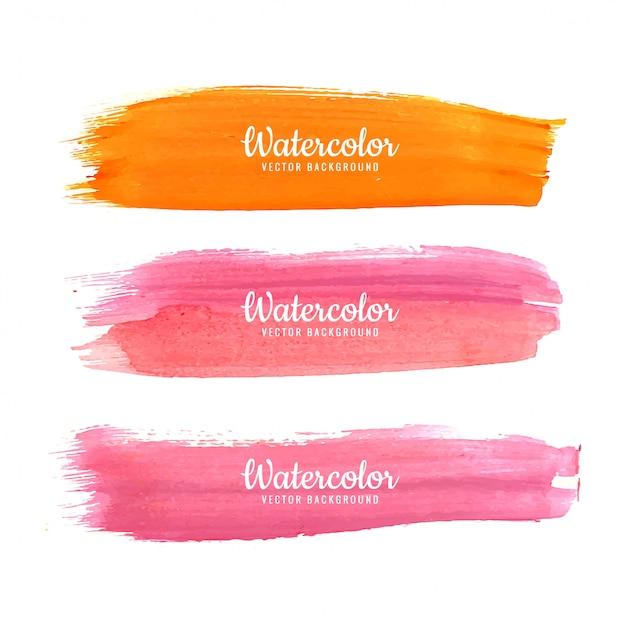 Vetor de traços coloridos aquarela abstrata Vetor Premium
