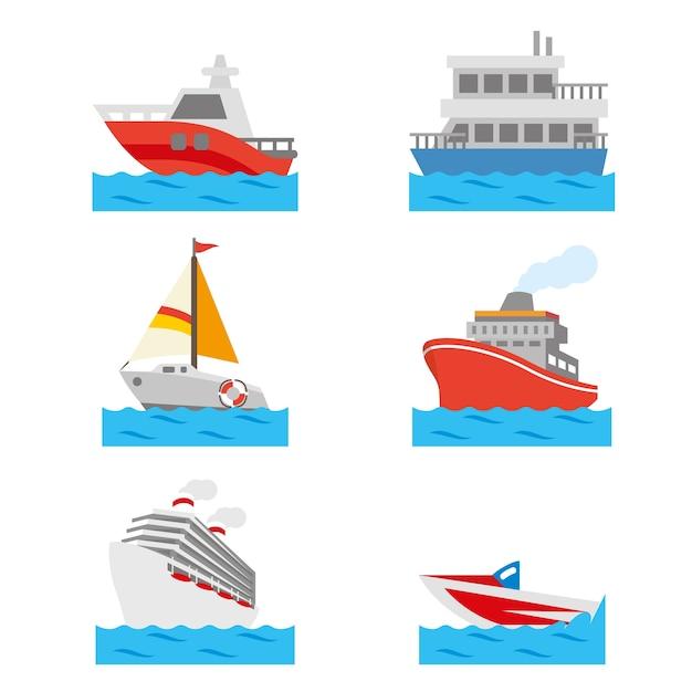 Vetor de transporte de água de veículo barco e navio Vetor Premium