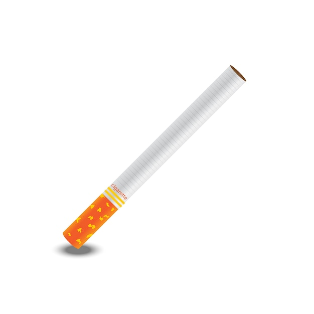 Vetor de um cigarro no fundo branco Vetor Premium