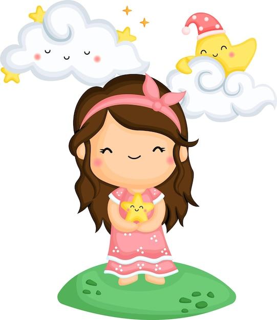 Vetor de uma garota segurando uma estrela nos braços Vetor grátis