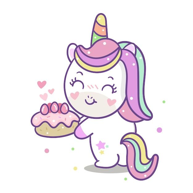 Vetor de unicórnio bonito com desenhos animados de bolo Vetor Premium