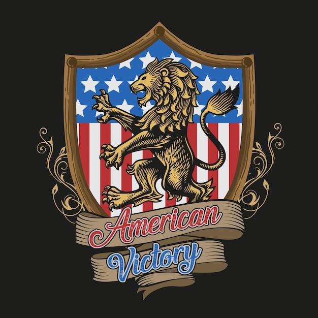 Vetor de vitória americana de leão Vetor Premium