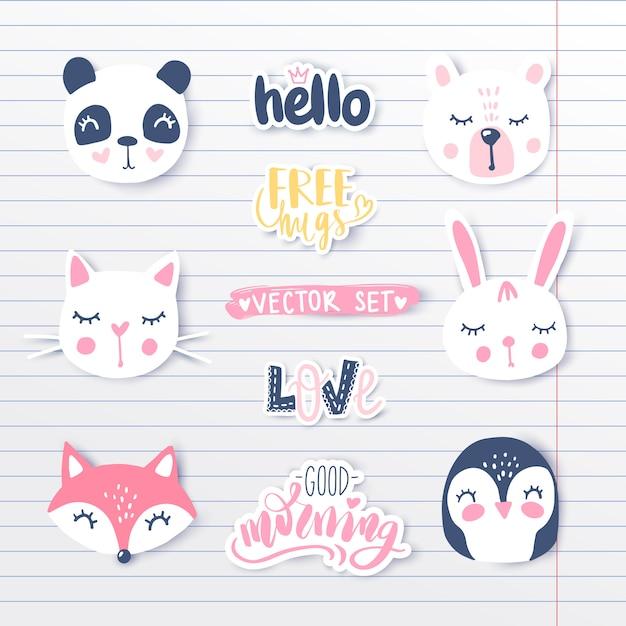 Vetor definido com animais dos desenhos animados - panda, pinguim, gato, urso, coelho. Vetor Premium