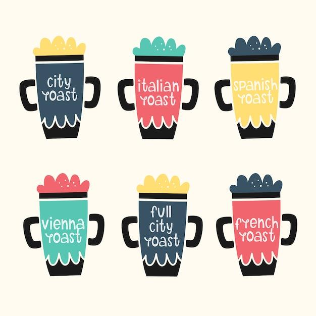 Vetor definido com canecas de café. torrar café. estilos de mão desenhada Vetor Premium
