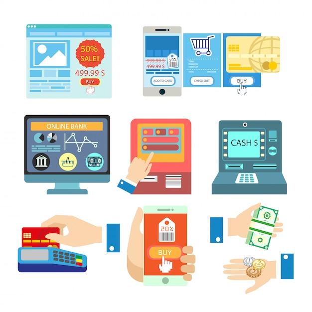 Vetor definido com pagamento on-line. Vetor Premium
