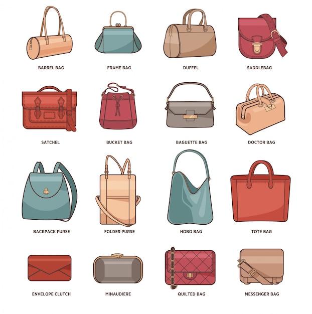 Vetor definido com sacos de moda. Vetor Premium