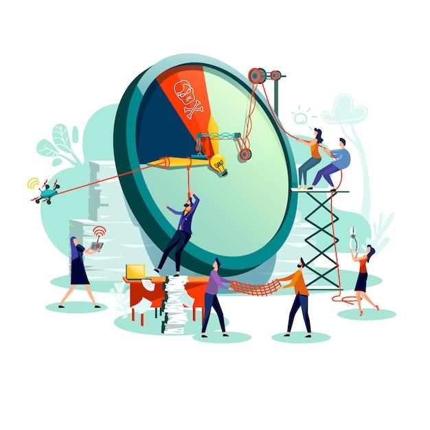 Vetor do conceito do negócio da gestão do prazo e do tempo. Vetor Premium