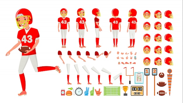 Vetor do macho do jogador de futebol americano. conjunto de criação de personagem animado. futebol americano, homem, duração cheia, frente, lado, vista traseira, acessórios, poses, emoções, gestos Vetor Premium