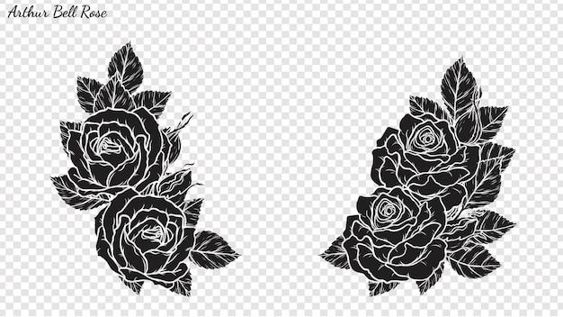 Vetor do ornamento de rosa à mão de desenho. Vetor Premium