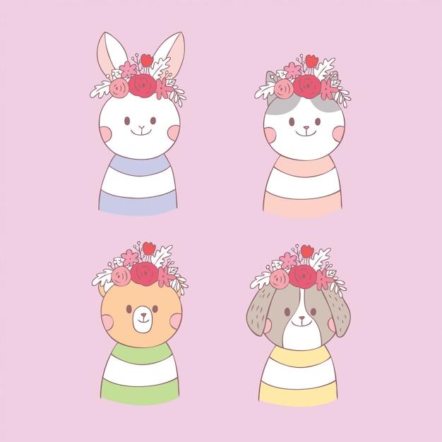 Vetor doce bonito do animal e da flor dos desenhos animados. Vetor Premium