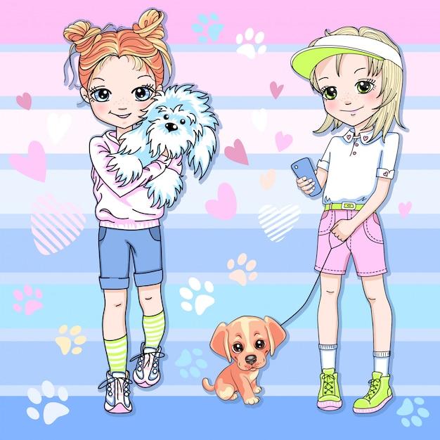 Vetor duas lindas garotas loiras e ruivas com cachorrinhos Vetor Premium
