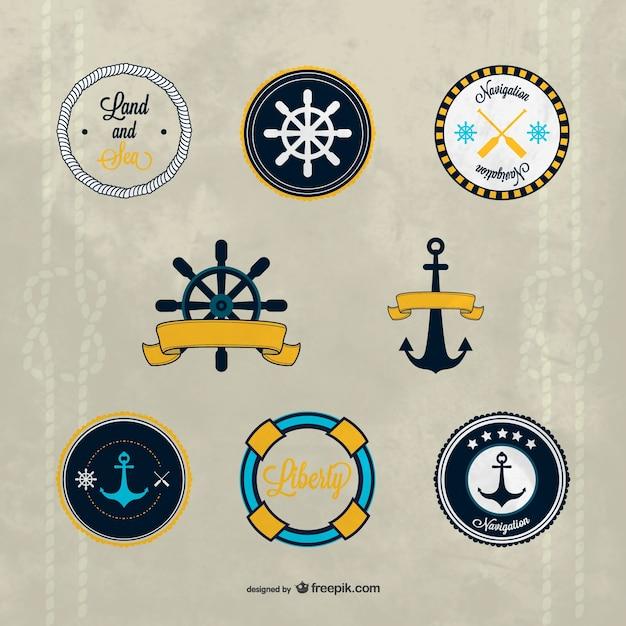 Vetor emblemas náuticos Vetor grátis