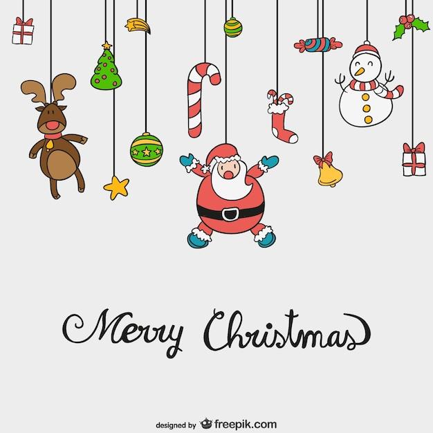 Vetor Feliz Natal Com Desenhos Animados Bonitos Vetor Gratis