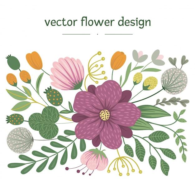Vetor floral. ilustração na moda plana com flores, folhas, galhos. prado, bosques, floresta clip-art. design moderno plano Vetor Premium