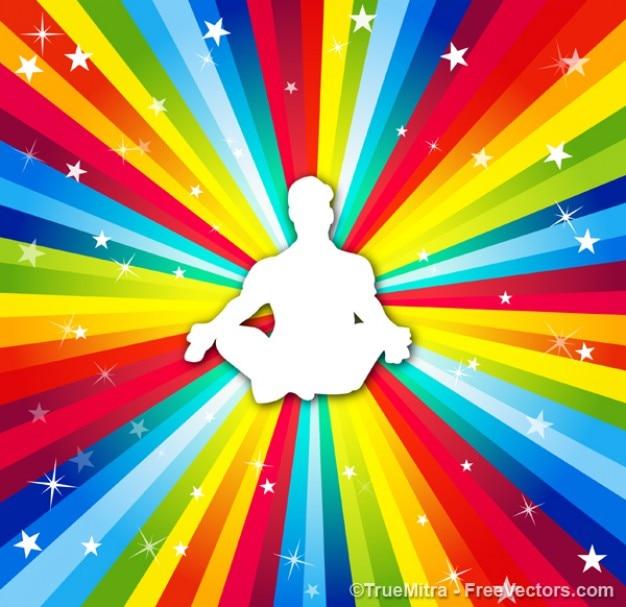 Vetor homem colorido yoga Vetor grátis