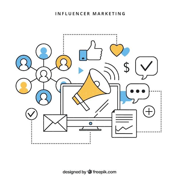 Vetor infográfico de marketing influencer Vetor grátis