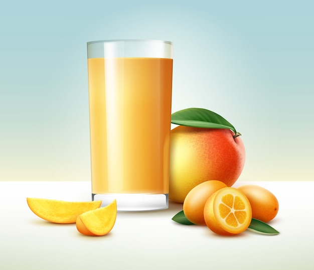 Vetor inteiro cortado pela metade, kumquat, manga com copo de suco isolado no fundo Vetor Premium