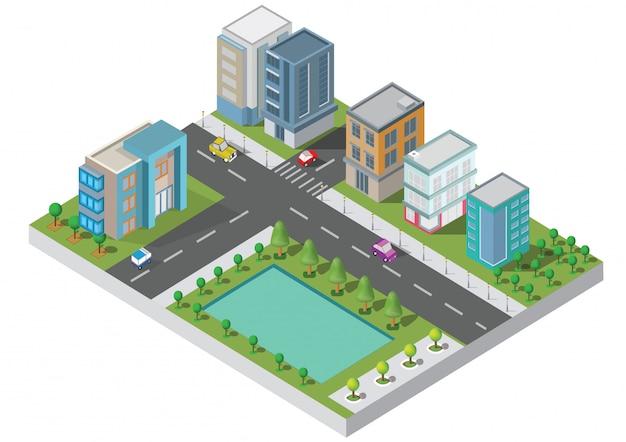Vetor isométrico do edifício da cidade. a cidade na jarda com estrada e árvores. ponte sobre o rio. cidade inteligente e parque público. construção 3d, carros, capital, escritório de vetor e conceito de metrópole. Vetor Premium