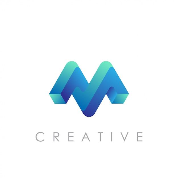 Vetor logotipo m com conceito 3d moderno Vetor Premium