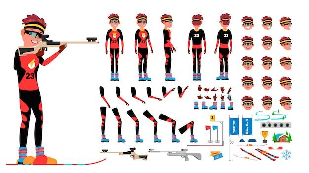 Vetor masculino do jogador do biathlon. conjunto de criação de personagem animado. comprimento total do homem, frente, lado, vista traseira, acessórios, poses, emoções de rosto, gestos. desenhos animados lisos isolados Vetor Premium
