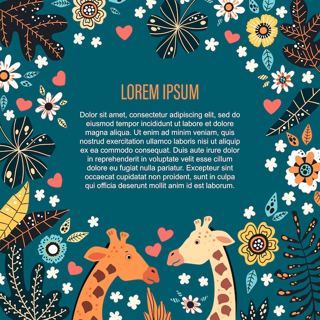 Vetor. modelo de texto rodeado por plantas tropicais e flores. Vetor Premium