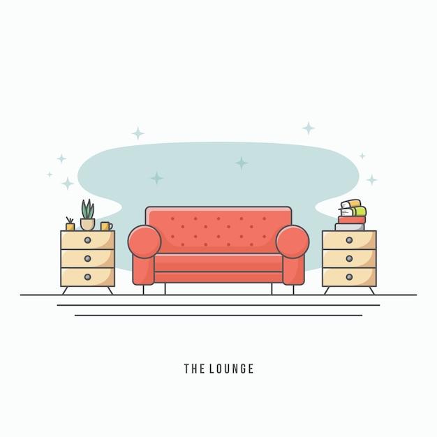 Vetor moderno sala de estar Vetor Premium