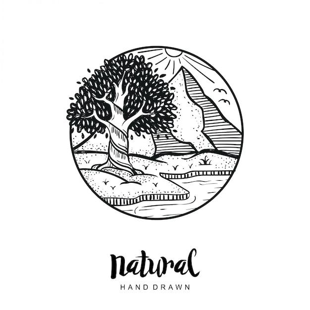 Vetor natural de mão desenhada Vetor Premium