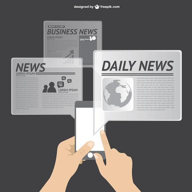 Vetor notícias on-line Vetor grátis