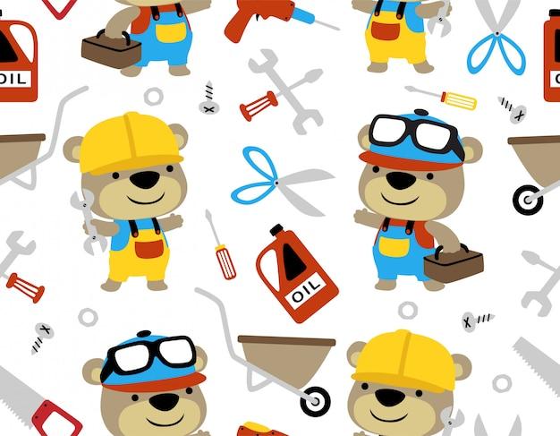 Vetor padrão sem emenda com desenhos animados de urso liitle Vetor Premium