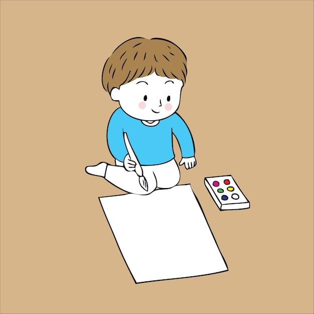 Vetor pequeno bonito do menino do artista dos desenhos animados. Vetor Premium