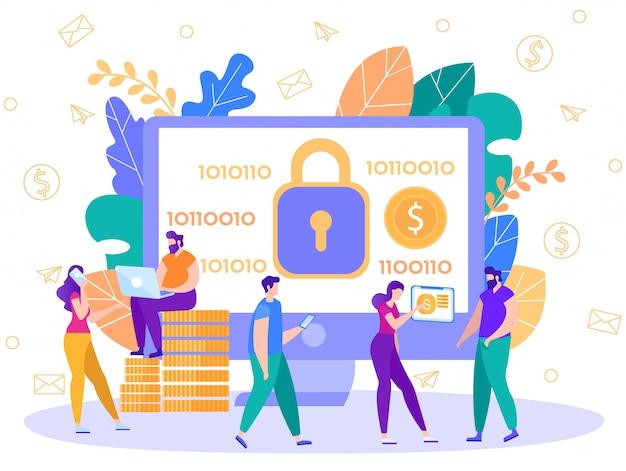 Vetor plano de tecnologia de segurança de pagamentos on-line Vetor Premium