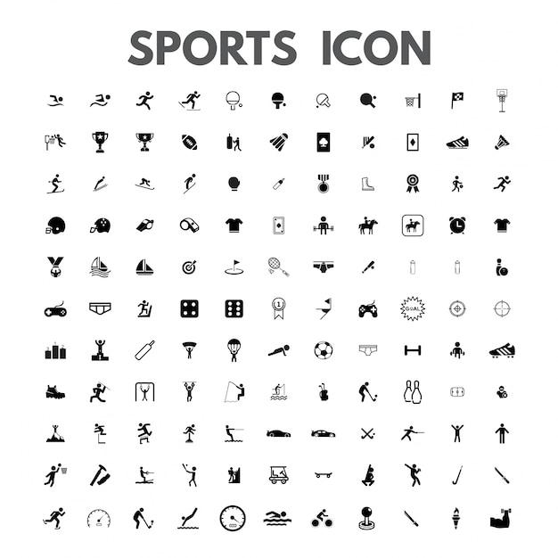 vetor preto ícones do esporte ajustado no branco Vetor grátis