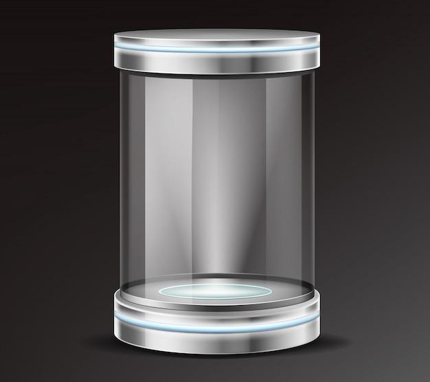 Vetor realista de recipiente de vidro de exposição do produto Vetor grátis