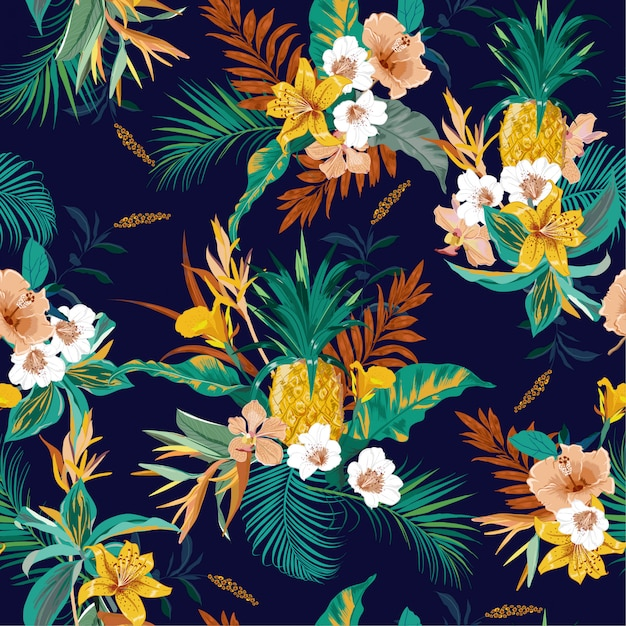 Vetor sem emenda exótico da floresta tropical escura retro colorida Vetor Premium